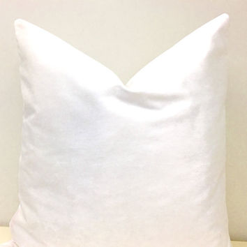 White Velvet Pillow Cover,Velvet Pillow,Velvet Cushion,Throw Pillow,Decorative Pillow,Bright White Pillow,White Couch Velvet Pillow Covers