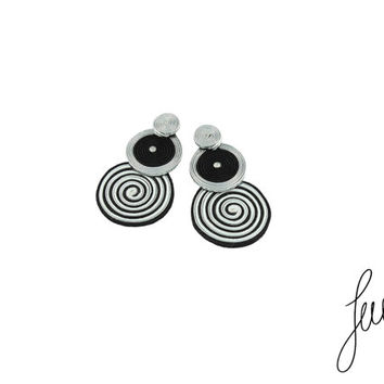 Unique, hand made soutache sterling silver studs earrings for sensitive ears