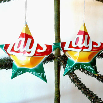 Lays Sour Cream & Onion Potato Chips Aluminum Stars - 2 Recycled Christmas Ornaments or Gift Toppers - Pop Culture Decor
