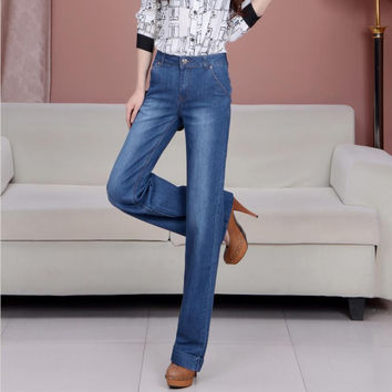 Spring Autumn Slim Fit Mid Waist Flare Jeans Plus Size Stretch Skinny Jean Bell-Bottom Pants Denim Trousers  B3789