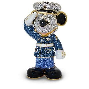Disney Parks Mickey Mouse Marine Jeweled Figurine by Arribas Brothers New w Box