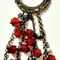 Vintage handmade Necklace Pendant Red rondelle beads wheel with hanging beads charms heart diamond blank and silver chains steam punk