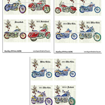 Harley DYNA Motorcycles Altered Art - Coasters Artwork, 4.0 inch Squares, Arts and Craft Projects