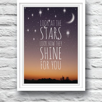 Nursery decor, wall decor, children's art, kids wall art, song lyric art, wedding gift, stars poster