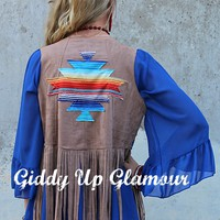 Desert Days Tan Suede Vest with Fringe and Serape