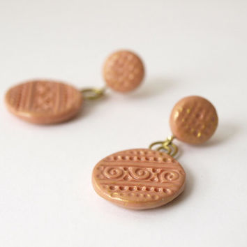 Dangle peach studs, Vintage boho posts, OOAK