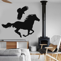 Vinyl Wall Decal Bird Horse Wild Animals Falcon Stickers Mural (ig022)