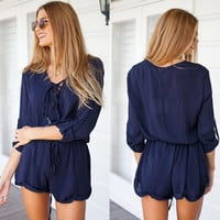 Plain Long-Sleeve Drawstring Romper