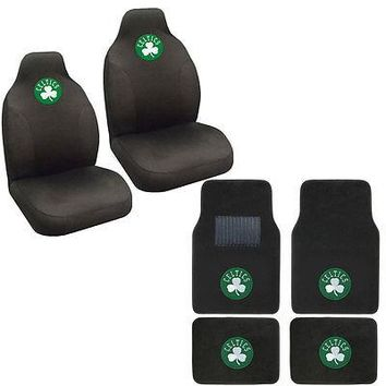 Licensed Official New NBA Boston Celtics Car Truck Seat Covers & Front Back Carpet Floor Mats