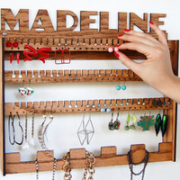 CUSTOM NAME Jewelry Organizer / Wall Mount Display Holder Storage / Personalized Gift/ Add Your Custom Word or Name