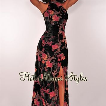 Black Velvet Mauve Floral Strappy Halter Slit Maxi Dress