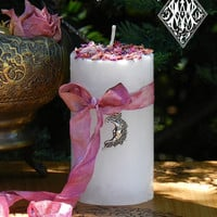 La Luna Alchemy Pillar Candle . Moon Rites with Mariposa Lily, Jasmine, Cherry Blossoms, Fairy Rose, Sandalwood and Lavender