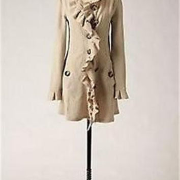 Anthropologie Gumshoe Sweatercoat Sz S -  By Charlie & Robin - Ivory - NWOT
