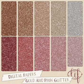 Valentine Glitter Digital Paper Gold Pink and Silver. Perfect for invites, cards, digital scrapbooking, backgrounds, wall art embellishments