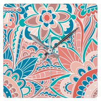 Spring Peach and Teal Boho Square Wall Clock