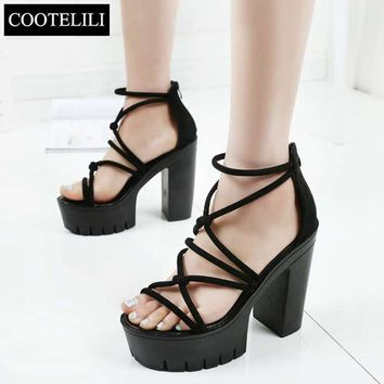 COOTELILI 35-39 Women Shoes Summer Sandals Thick Super High Heels Platform Ladies Sandals Cross-tied Wedge Shoes Women Gladiator