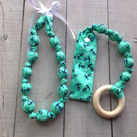 Mint Anchor  Snap teether Fabric Teething Necklace gift set, Nursing Necklace Teething Toy, Organic Teether, Baby Shower gift, Wood Teether