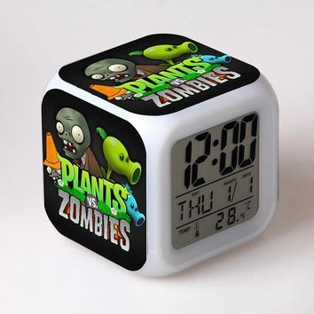 Plants Zombies Game figure Alarm Clock with LED Flash Light Toys Plants vs Zombies Action Figure PVZ Model Toys