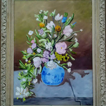 "ORIGINAL OIL, ""Renoir's Bouquet"" 18 x 24"" Canvas Panel, Framed"
