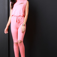 French Terry Zipper Knee Slit Jumpsuit