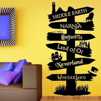 Wall Stickers Storybook Signpost Harry Potter Lord Of ring vinyl decal Nursery Art Decor Cute Cartoon Wall Sticker U556