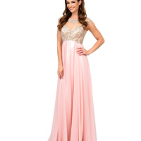 Blush Cap Sleeve Rhinestone Embroidered Chiffon Long Dress