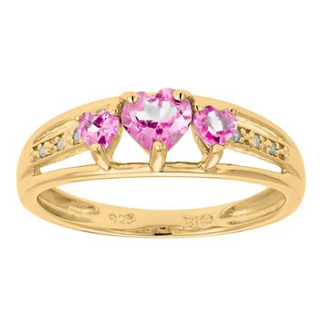 .90 Ct Triple Heart Pink Sapphire and .018 cttw Diamond Gold Plated Silver Ring