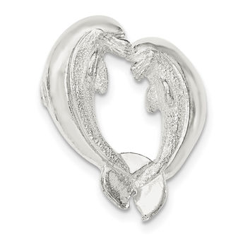 Sterling Silver Polished Nose to Nose Dolphin Heart Chain Slide