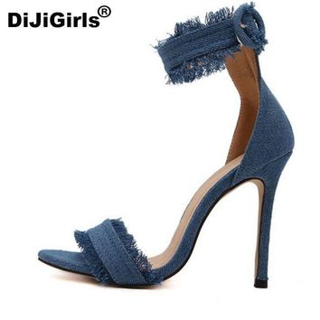 DiJiGirls Pumps Fashion High Heels Shoes Wedding Women Shoes Chaussure Femme Denim Hig