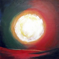 """ARTFINDER: landscape painting abstract wall art """"A Moment of Sun"""" contemporary modern art acrylic 36 x 36 inches by Stuart Wright - Landscape abstract of a colourful sun, thick te..."""