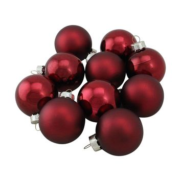 "10-Piece Shiny and Matte Burgundy Red Glass Ball Christmas Ornament Set 1.75"" (45mm)"