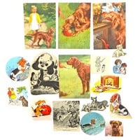 Cats, Dogs Paper pack, paper ephemera lot, 17 pieces, paper ephemera pack,  journal pack, kids craft pack