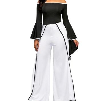 are Sleeve Off the Shoulder Contrast Binding Straight Wide Leg Jumpsuit