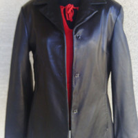 Andrew Marc Coat Leather jacket black medium snap front butter soft leather vintage 80s