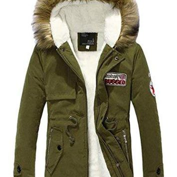 AZIZY Women's Winter Faux Fur Hood Cotton Thick Warm Faux Fleece Lined Jacket