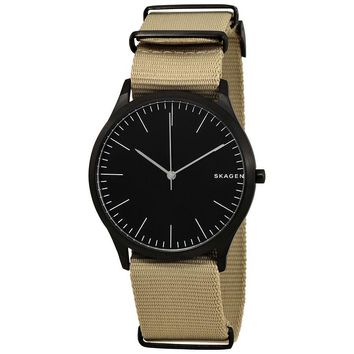 Skagen Jorn Black Dial Mens Beige Nylon Watch SKW6367