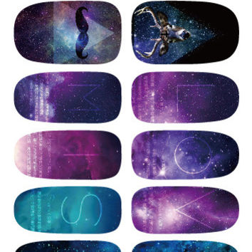 Galaxy Nails Art Stickers