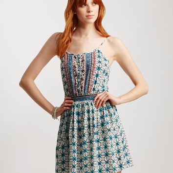 Moroccan Flower Print Sleeveless Dress