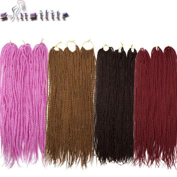 S-noilite 20roots 24 Inches Senegalese Twist Crochet Braid Hair Extensions Ombre Kanekalon Synthetic Braiding Hair