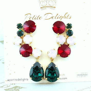 Christmas Earrings,Emerald Ruby Statement Chandeliers,Swarovski Emerald Earrings,Christmas Gift,Red Green Pink Earrings,Crystal Earrings
