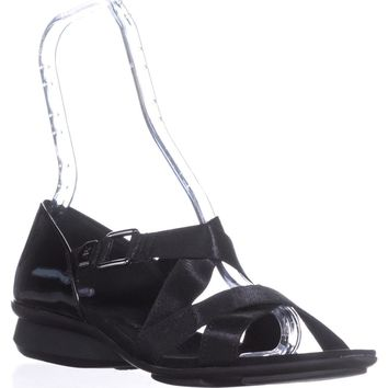 AK Anne Klein Sport Kanelle Strappy Flat Sandals, Black, 9 US