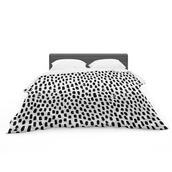 "Kess Original ""Ink Dots"" Black White Featherweight Duvet Cover"