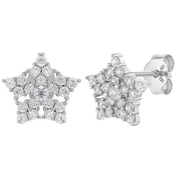 925 Sterling Silver Clear CZ Snowflake Star Stud Earrings for Girls or Teens