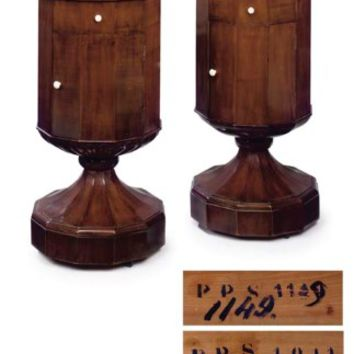 A PAIR OF ROYAL NORTH ITALIAN WALNUT AND FRUITWOOD REVOLVING COMMODINI , FIRST HALF 19TH CENTURY