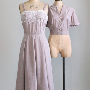 Vintage Early 1950s L'Aiglon Cotton Sundress and Jacket