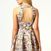 Becki Rose Print Cut Out Skater Dress