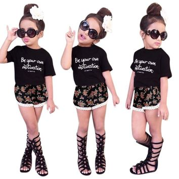 2PCS children clothes set Letter summer 2017 Toddler Baby Kids Girls Outfit Clothes T-Shirt+Floral Lace Shorts Set Drop ship