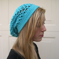 Turquoise slouchy hat, beanie hat, slouchy hat, Spring Fashion, blue summer hat from MaryK Creations