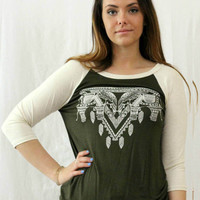 """ZEN GARDEN"" 3/4 SLEEVE TOP"