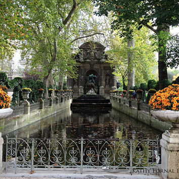 Paris Photography, Jardin du Luxembourg Gardens, Medici Fountain Gardens, Paris Autumn Fall Photos, Paris Fine Art Autumn Fall Photos 8x12